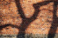 Bakstenen muur met schaduwpatroon royalty-vrije stock afbeelding