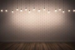 Bakstenen muur met verlichting stock illustratie