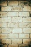 Bakstenen muur op grungestijl, het effect van de mosterdkleur, behang of achtergrond met plaats voor tekst Stock Foto