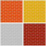 Bakstenen muur Reeks gekleurde naadloze patronen vector illustratie