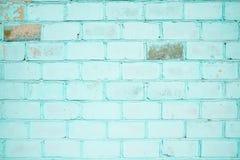 Bakstenen muur, turkooise kleur, behang of achtergrond met plaats voor tekst Stock Afbeeldingen