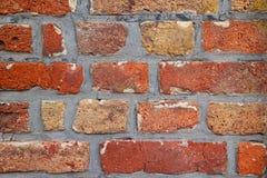 Bakstenen muur van rode kleur, close-up van metselwerk royalty-vrije stock fotografie