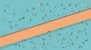 Bakstenen muur verdelende mensen stock illustratie