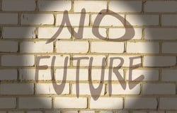 Bakstenen muur Witte textuurachtergrond inschrijving geen toekomst stock afbeeldingen