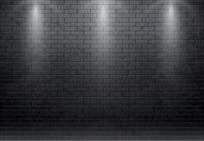 Bakstenen muur zwarte achtergrond met vleklicht 10 eps Stock Afbeelding
