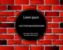 Bakstenen muurachtergrond met cirkel voor tekst Vector rode kleur met textuur royalty-vrije illustratie