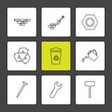 bakstenen, spade, moersleutel, hardware, hulpmiddelen, bouw, laboratorium vector illustratie