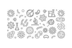 Bakteria wektorowy horyzontalny sztandar robić z drobnoustrój ikonami ilustracji