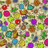 Bakterie- bakgrund för mikroskopisk klotterbakterie stock illustrationer
