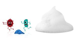 Bakterien, die vom Schaum laufen - lokalisiert vom weißen Hintergrund - Beschneidungspfad Lizenzfreie Stockfotografie
