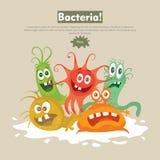 Bakterien-flache Karikatur-Vektor-Netz-Fahne lizenzfreie abbildung
