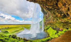 Baktill av den Seljalandsfoss vattenfallet - Island Arkivbild
