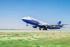 Baku - AUGUST 27, 2016: Airplane taking off on August 27 in Baku Royalty Free Stock Photo