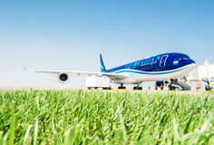 Baku - AUGUST 27, 2016: AZAL airplane boarding. on August 27 in Stock Photography
