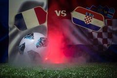 BAKU, AZERBAIJÃO - 12 DE JULHO DE 2018: Conceito criativo Oficial Rússia bola do futebol de 2018 campeonatos do mundo Adidas Tels ilustração stock