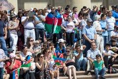 BAKU, AZERBAIJÃO - 26 de junho de 2018 - parada militar em Baku, pessoa azerbaijano que comemora o 100th aniversário de forças ar Imagens de Stock