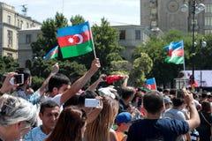BAKU, AZERBAIJÃO - 26 de junho de 2018 - parada militar em Baku, pessoa azerbaijano que comemora o 100th aniversário de forças ar Fotografia de Stock