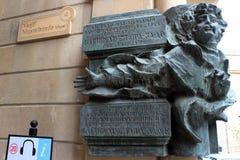 Memorial plaque to jazz pianist and composer Vagif Mustafazadeh in Baku, Azerbaijan stock photography