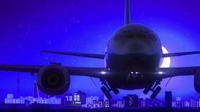 Baku Azerbaijan Airplane Take Off-Blauwe de Horizonreis van de Maannacht stock footage