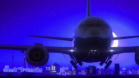 Baku Azerbaijan Airplane Take Off-Mond-Nachtblaue Skyline-Reise lizenzfreie abbildung