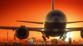 Baku Azerbaijan Airplane Take Off-Skyline-goldener Hintergrund lizenzfreie abbildung