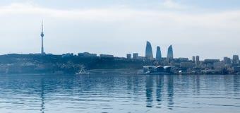 Baku, Azerbaijan - April 13, 2019: Panoramic sunny summer view of Baku, capital city of Azerbaijan. Panorama Baku from The Caspian stock photography