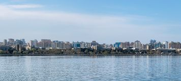 Baku, Azerbaijan - April 13, 2019: Panoramic sunny summer view of Baku, capital city of Azerbaijan. Panorama Baku from The Caspian royalty free stock images