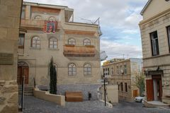 Street of the old city of the capital of Baku with stone houses and narrow streets stock photo