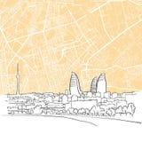 Baku Azerbaijan Background Map stock illustrationer