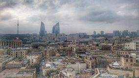Baku, Azerbaijan. Caucasian, cityview, towers royalty free stock photo