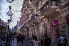 Baku, Azerbaijan, Center street. Royalty Free Stock Photo