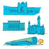Baku Azerbaijan Colored Landmarks royaltyfri illustrationer