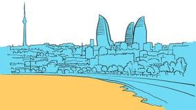Baku Azerbaijan Colored Panorama vektor illustrationer