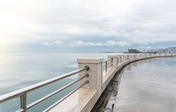 Baku, Azerbaijan - December 2, 2018: Seaside boulevard. Baku is the largest city on the Caspian Sea. Baku, Azerbaijan - December 2, 2018: Seaside boulevard stock image