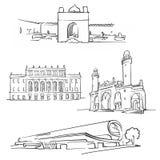 Baku Azerbaijan Famous Buildings. Monochrome Outlined Travel Landmarks, Scalable Vector Illustration stock illustration