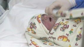 Baku, Azerbaijan-February 2016. Doctor examing newborn. Baku, Azerbaijan-February 2016. Surgical team performing surgery operation, cesarean section stock footage