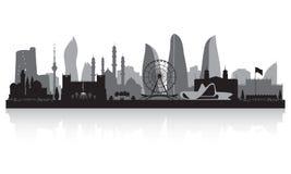 Baku Azerbaijan-het silhouet van de stadshorizon stock illustratie