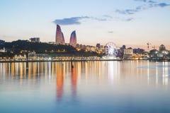 BAKU, AZERBAIJAN. The iconic Flame Towers sit high above this modernizing capital city on the Caspian Sea Royalty Free Stock Photos