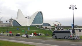 The building of the Heydar Aliyev Center, cloudy january day. Baku. BAKU, AZERBAIJAN - JANUARY 05, 2018: The building of the Heydar Aliyev Center, cloudy january stock video footage