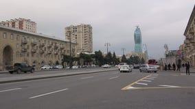 Cloud january evening on the Heydar Aliyev Avenue. Baku, Azerbaijan. BAKU, AZERBAIJAN - JANUARY 05, 2018: Cloud january evening on the Heydar Aliyev Avenue stock footage
