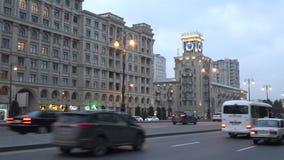 January dusk on the Heydar Aliyev Avenue. Baku, Azerbaijan. BAKU, AZERBAIJAN - JANUARY 05, 2018: January dusk on the Heydar Aliyev Avenue stock video