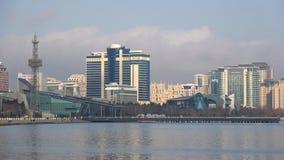 Modern hotels `Hilton` and `Apsheron` on the shores of Baku bay on a january day. Baku, Azerbaijan. BAKU, AZERBAIJAN - JANUARY 04, 2018: Modern hotels `Hilton` stock footage