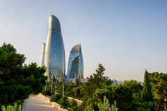 BAKU, AZERBAIJAN - JULY 24:City view of the capital of Azerbaijan, on July 24, 2014, with great modern architecture. Stock Image