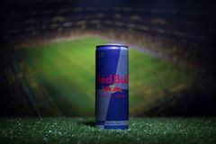 BAKU,AZERBAIJAN - JULY 01, 2018 : Creative concept. Red Bull classic 250 ml can on grass. Support your country in World cup 2018. Stock Images