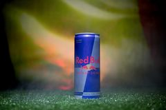 BAKU,AZERBAIJAN - JULY 01, 2018 : Creative concept. Red Bull classic 250 ml can on grass. Support your country in World cup 2018. Selective focus royalty free stock photos