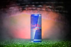 BAKU,AZERBAIJAN - JULY 01, 2018 : Creative concept. Red Bull classic 250 ml can on grass. Support your country in World cup 2018. Selective focus stock photos