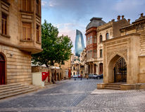 BAKU, AZERBAIJAN - JULY 24:Icheri Sheher (Old Town) of Baku, Azerbaijan, on July 24, 2014, with great modern stock photo