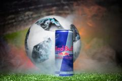 BAKU,AZERBAIJAN - JULY 01, 2018 : Official Russia 2018 World Cup football ball The Adidas Telstar 18 and Red Bull classic 250 ml c Royalty Free Stock Photos