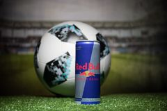 BAKU,AZERBAIJAN - JULY 01, 2018 : Official Russia 2018 World Cup football ball The Adidas Telstar 18 and Red Bull classic 250 ml c Royalty Free Stock Photography