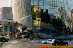 BAKU, AZERBAIJAN - JULY 24: Street in downtown of the capital of Azerbaijan, on July 24, 2014, with great modern architecture. Royalty Free Stock Photo